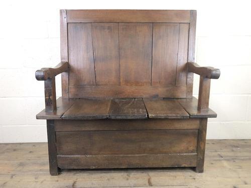 Small Antique Oak & Fruitwood Box Settle (1 of 12)