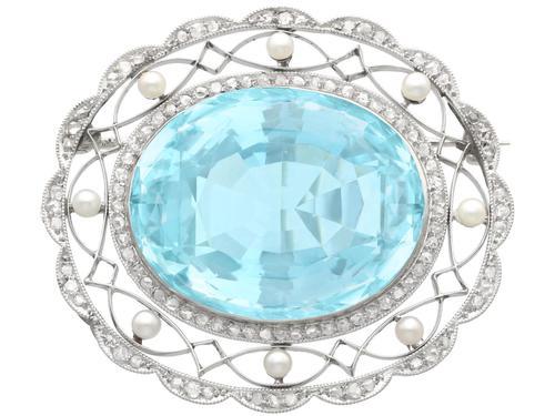 43.84 ct Aquamarine, 0.85 ct Diamond and Pearl, Platinum Brooch - Antique Circa 1910 (1 of 9)