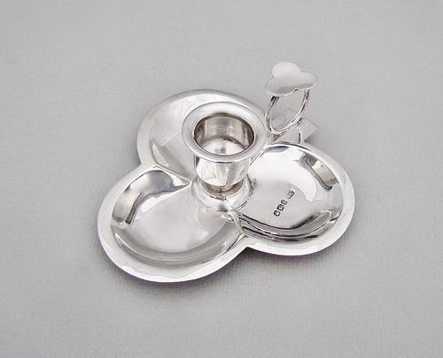 """Victorian Novelty Silver """"Clover"""" Chamberstick by the Levesley Brothers, Sheffield 1898 (1 of 10)"""