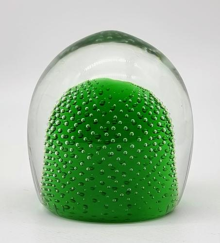 Jaffe Rose Glass Magnum Controlled Bubble Green Paperweight Czech Bohemia (1 of 6)