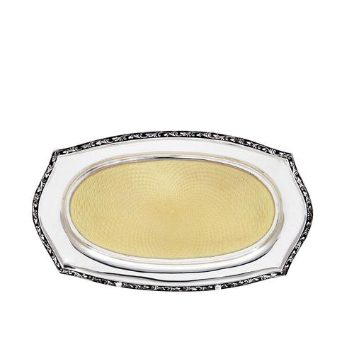 """Antique Sterling Silver & Yellow Guilloche Enamel 6"""" Pin Tray 1925 (1 of 10)"""