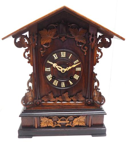 Rare Fusee Cuckoo Mantel Clock – German Black Forest Carved Bracket Clock (1 of 10)
