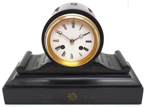 Drum Head Slate Mantel Clock – Gilt Marble 8-day Striking Mantle Clock (1 of 11)