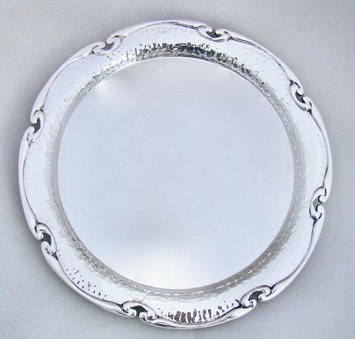 """Arts & Craft 10"""" Silver Plated Salver by William Hutton & Sons c.1900 (1 of 6)"""