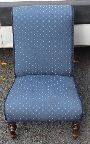 1940's Mahogany Framed Blue Spot Upholstered Nursing Chair (1 of 3)