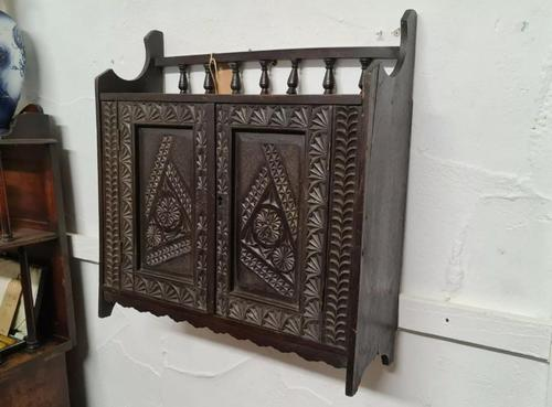 Arts & Crafts Tramp Art Antique Gothic Wall Cabinet (1 of 4)