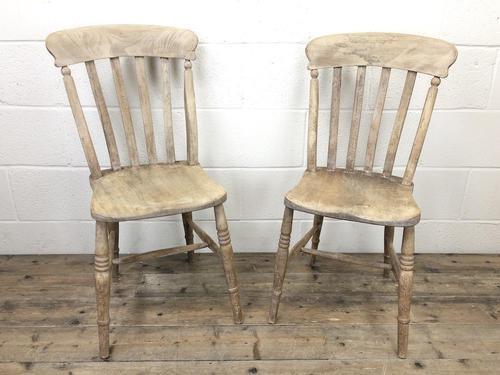 Pair of Antique Slat Back Farmhouse Kitchen Chairs (1 of 9)