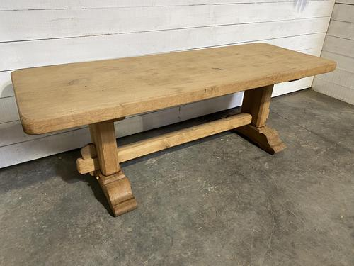 French Bleached Oak Farmhouse Table Nice Thick Top (1 of 14)
