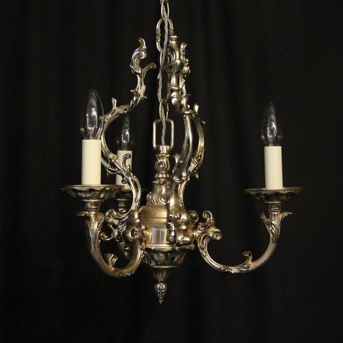 Italian Silver Gilded Triple Light Chandelier (1 of 10)
