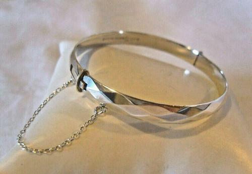 """Vintage Sterling Silver Bangle 1971 Silver Fancy Bracelet 7"""" Length 19.6 Grams (1 of 11)"""