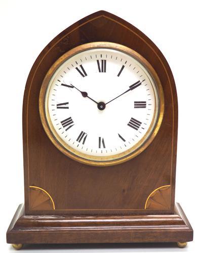 Impressive Thin Mahogany Edwardian Lancet Clock Timepiece Mantel Clock (1 of 11)