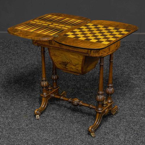 Victorian Walnut Games / Sewing Table (1 of 8)