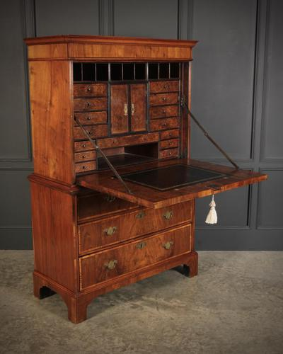 18th Century Walnut Escritoire Cabinet on Chest (1 of 14)