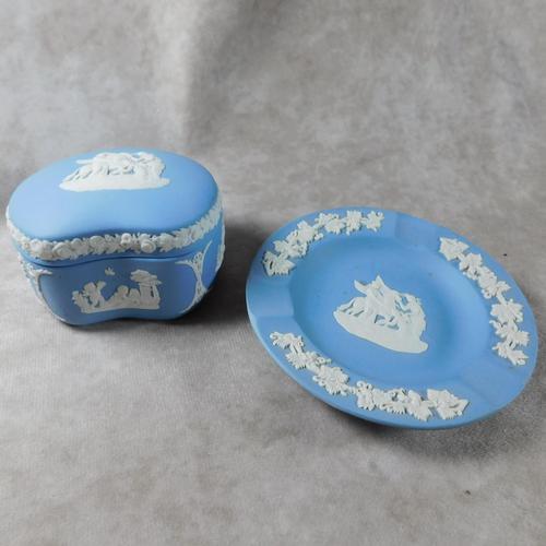 Wedgwood Blue Jasperware Kidney Shaped Trinket Box & Tray (1 of 11)