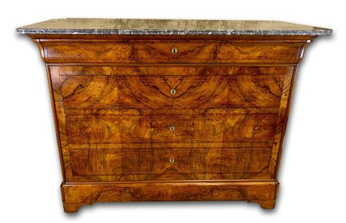 19th Century Burr Walnut Marble Top Commode (1 of 8)