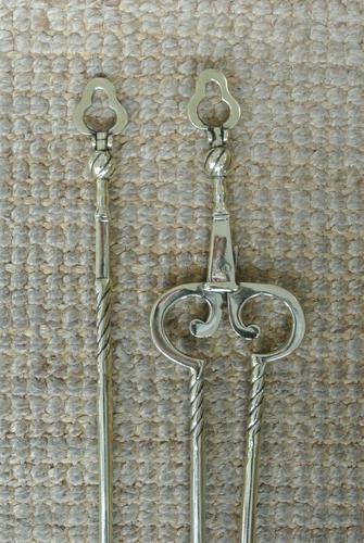 Fine Pair of Antique Georgian Brass Fire Irons Companion Set Poker Tongs (1 of 10)