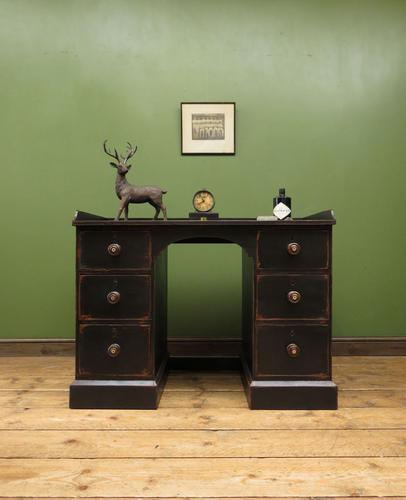 Black Painted Writing Desk with Drawers, Gothic Shabby Chic (1 of 15)