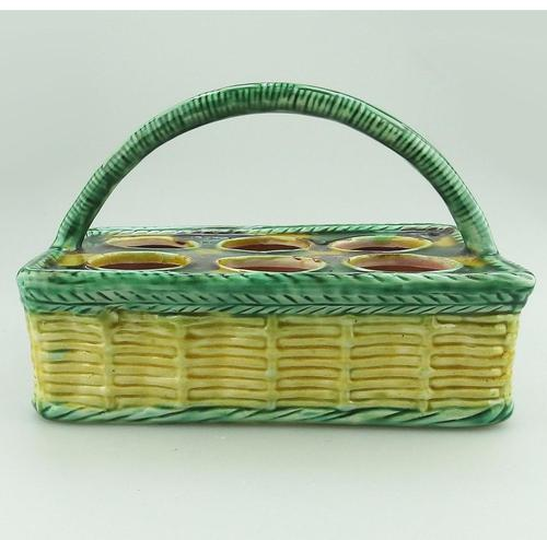 Attractive Novelty Majolica Pottery Eggery / Egg Stand Basket 19th Century (1 of 5)