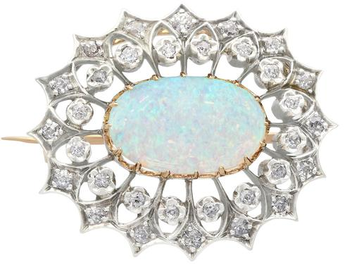 2.99 ct Opal and 0.96 ct Diamond, 9 ct Yellow Gold Brooch - Antique Victorian (1 of 9)