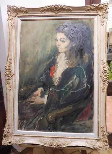Large Oil on Canvas Portrait of Carolyn Royal Academy Artist Margaret Milne 1970 (1 of 10)