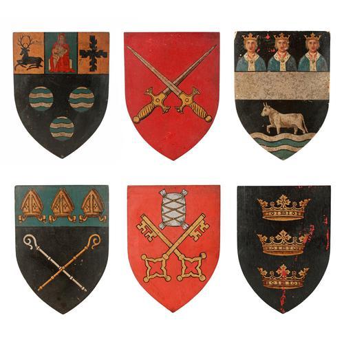 Six Edwardian Heraldic Shield Plaques (1 of 8)