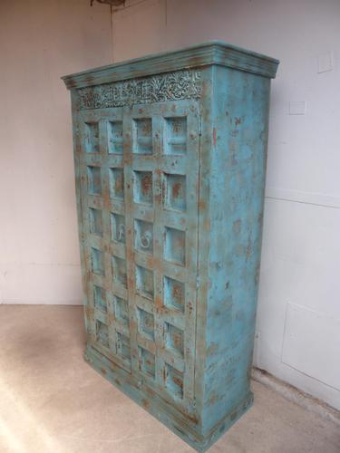 Handmade Indian Mango & Teak Large Painted Sky Blue 2 Door Storage Cupboard (1 of 13)