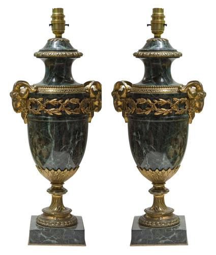 Pair of Green Marble Gilt Metal Mounted Table Lamps 19th Century (1 of 7)