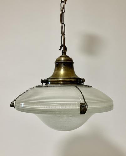 Original Holophane Flying Saucer Glass Pendant Light (1 of 11)