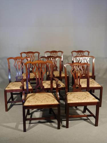 Good Early 20th Century Set of 8 '7+1'  Chippendale Design Mahogany Chairs (1 of 6)