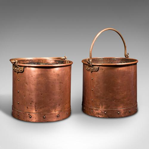 Pair of Antique Fireside Bins, English, Copper, Coal, Fire Bucket, Victorian (1 of 12)