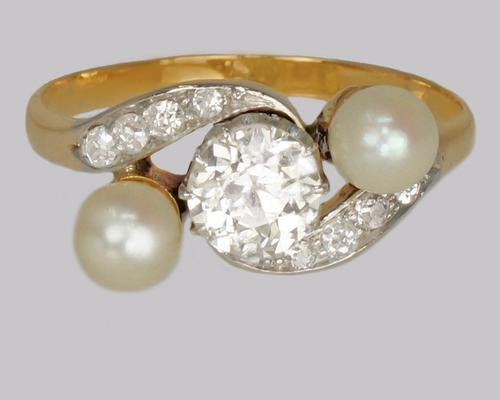 Antique Pearl & Old Cut Diamond Twist Ring 18ct Gold Edwardian Trilogy Ring  c.1910 (1 of 14)