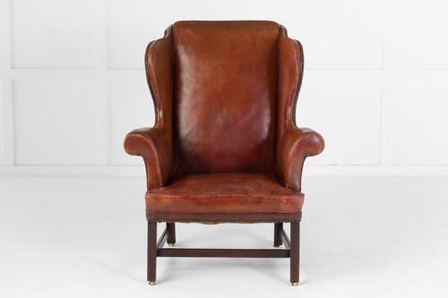 George III Mahogany & Leather Wing Chair (1 of 11)
