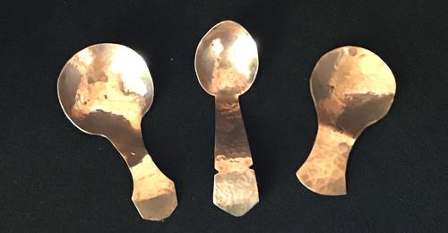 Three Planished Copper Arts & Crafts Caddy Spoons (1 of 3)