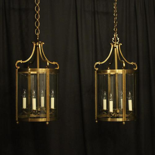 French Pair of Bronze Antique Hall Lanterns (1 of 10)
