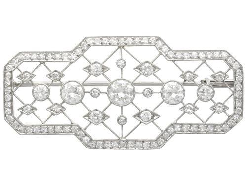 3.78ct Diamond & Platinum Brooch - Art Deco - Antique c.1920 (1 of 9)