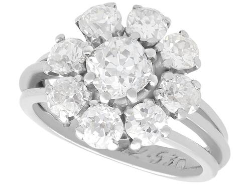 3.05 ct Diamond and Palladium Cluster Ring - Antique and Vintage (1 of 9)