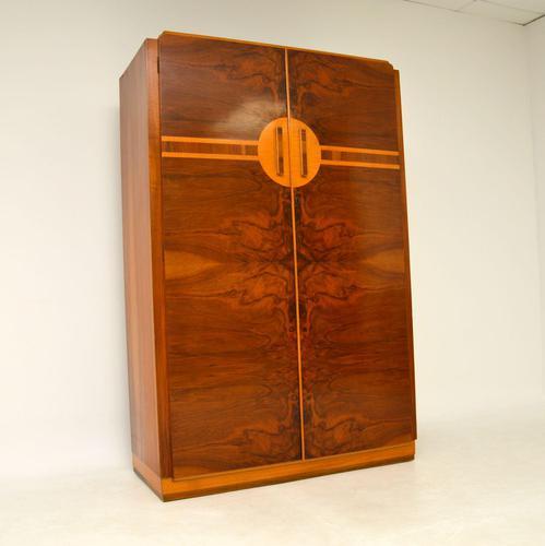 Art Deco Figured Walnut Wardrobe Vintage 1930's (1 of 10)