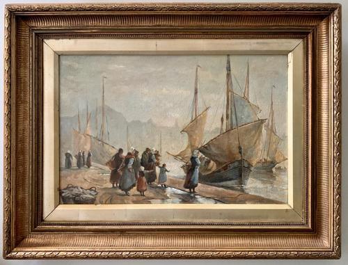 European School 19th Century Oil on Board, Coastal Scene (1 of 5)