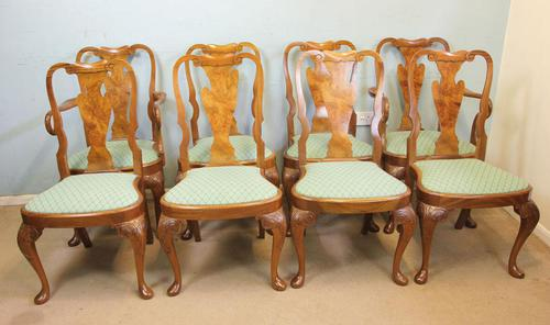 Set of Eight Queen Anne Style Walnut Dining Chairs (1 of 15)