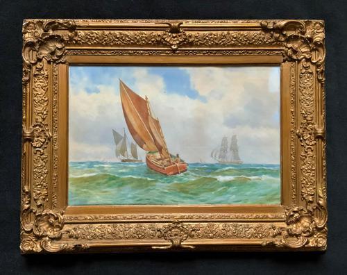 Att: William Boyce 19th Century Sailing Smack Seascape Watercolour Painting (1 of 11)