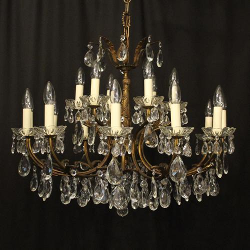 Italian 18 Light Gilded Brass Antique Chandelier (1 of 10)
