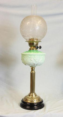 Antique Victorian Oil Lamp Green Font (1 of 8)