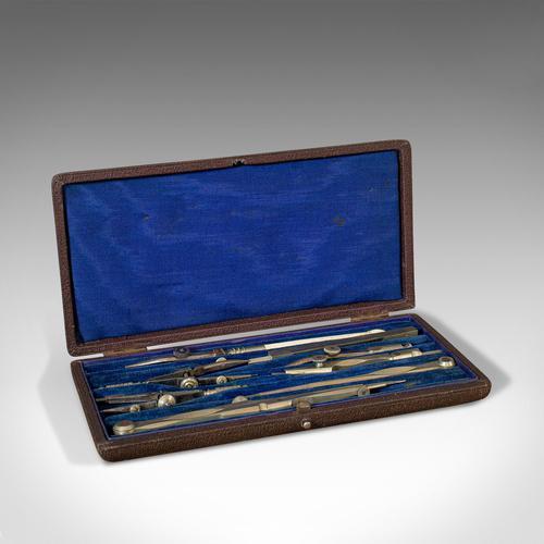 Antique Drawing Instrument Set, English, Draughtsman's, Tools, Edwardian, 1910 (1 of 10)