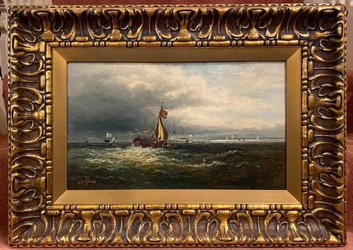 Framed Oil on Canvas Entitled 'Portsmouth Harbour' by M. M. Jacobi (1 of 4)