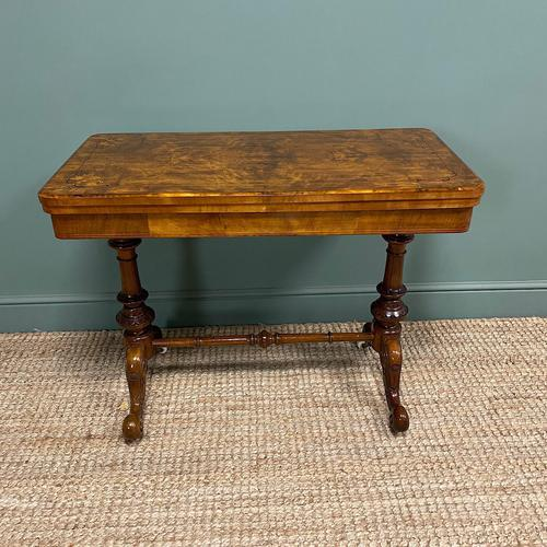 Quality Figured Walnut Victorian Antique Card Table / Games Table (1 of 9)