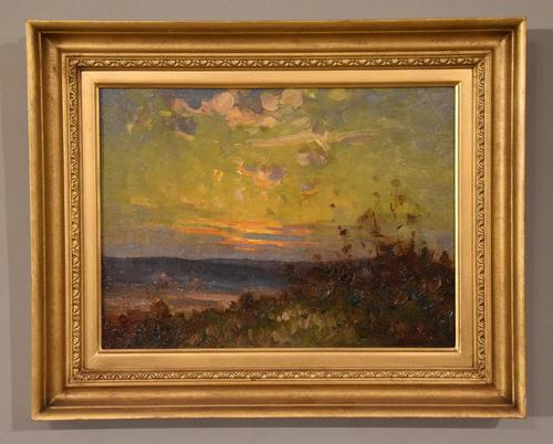 """Oil Painting Pair by William F. Burchell """"Sunset"""" (1 of 3)"""