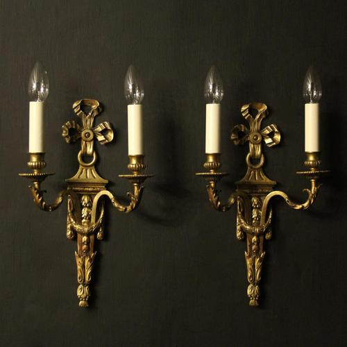 French Gilded Bronze Pair Of Antique Wall Lights (1 of 9)