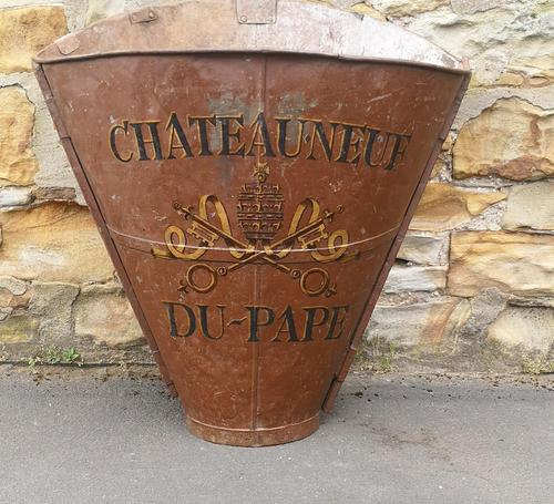 Chateauneuf Du Pape French Galvanised Metal Grape Pickers Hod / Bucket (1 of 6)