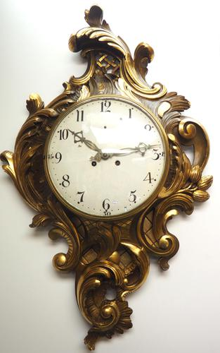 Impressive French Carved Cartel Wall Clock 8 Day Movement Scrolling leaf design 84cm High (1 of 13)