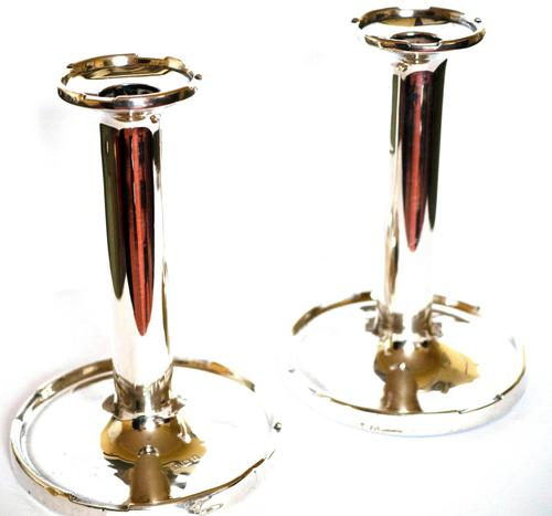 Pair of George V Silver Candlesticks with Crenelated Rims (1 of 4)